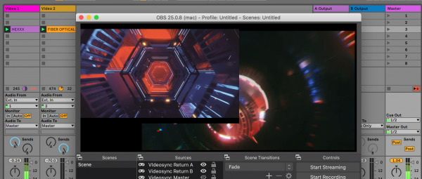 Audiovisual performing with Ableton Live, Videosync and OBS on online streaming platforms